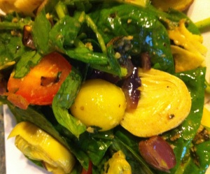 Spinach Salad with Basil Pesto & Caramelized Onions