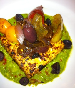 Tandoori Tofu, Grilled Vegetables, Green Pea Sauce